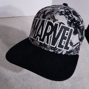 Marvel All-Over Print Spellout Snap Back Hat